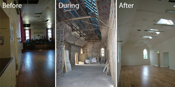Image of the Hall before, during and after