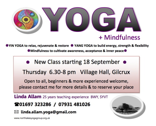 NEW YOGA CLASS STARTING 18 SEPTEMBER 2014 Thursday 6.30-8pm