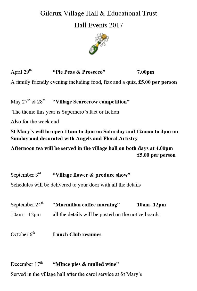 Gilcrux Village Hall 2017 events