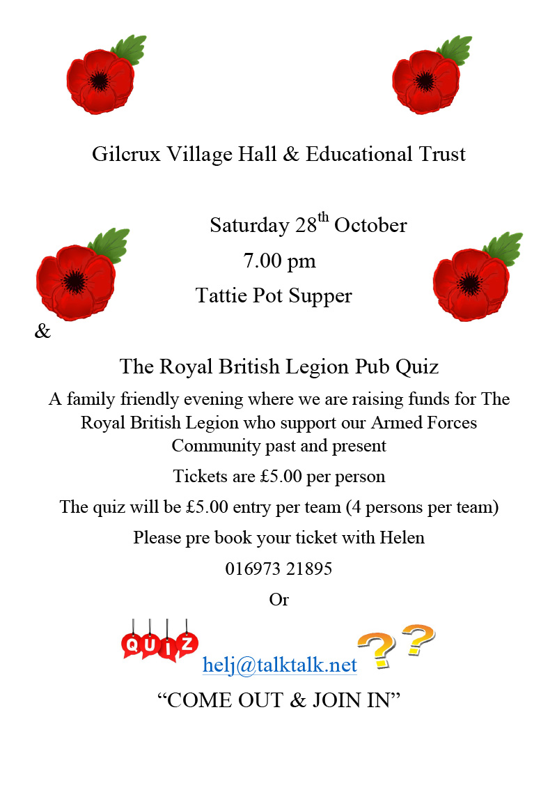 Gilcrux Village Hall British Legion Pub Quiz