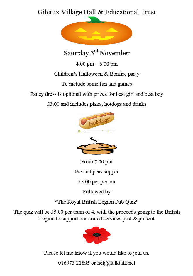 Gilcrux Village Hall Halloween and Bonfire Night Party 2018