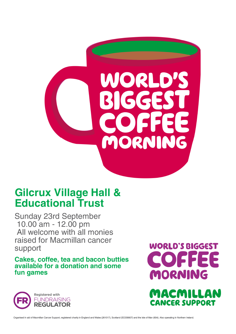 Gilcrux Village Hall Macmillan World's Biggest Coffee Morning September 2018