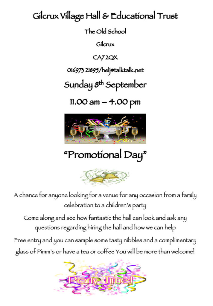 Gilcrux Village Hall Promotional Day
